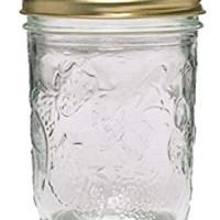 Ball 40801 Golden Harvest Mason Regular Mouth 8oz Jelly Jar 12PK 'Vintage Fruit Design', RM 8 Oz, Clear