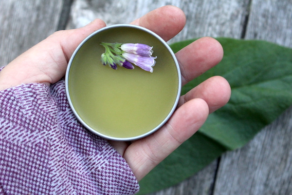 My own homemade comfrey salve for back pain.