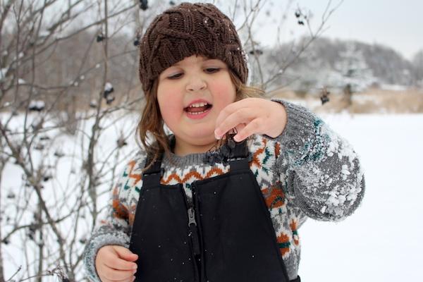 child eating nannyberries