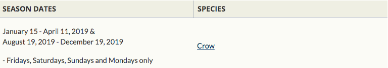 crow season