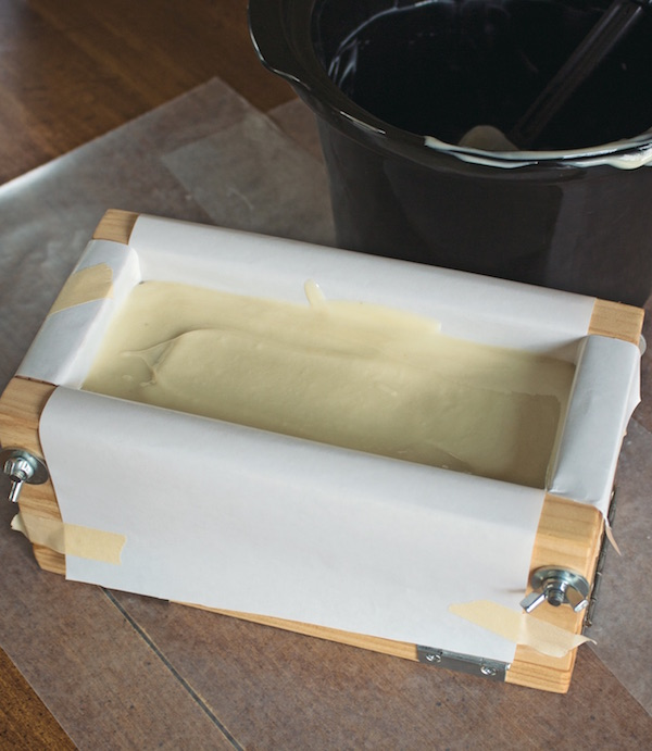 Cold Process soapmaking allows the soap to cure at room temperature for several weeks (hot process, on the other hand, cures the soap faster with heat.)