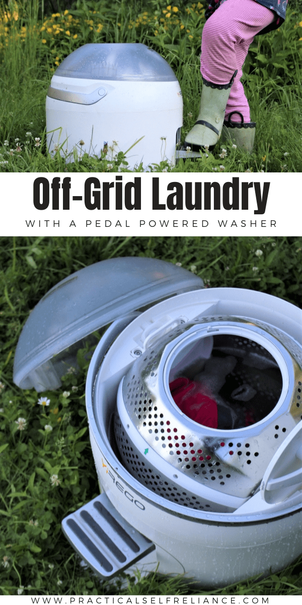 Off Grid Laundry is easy with a pedal powered washer.  This tiny portable washing machine is super efficient, and can go anywhere!