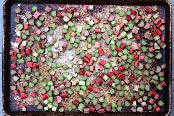 Flash Freezing Rhubarb on a Baking Tray