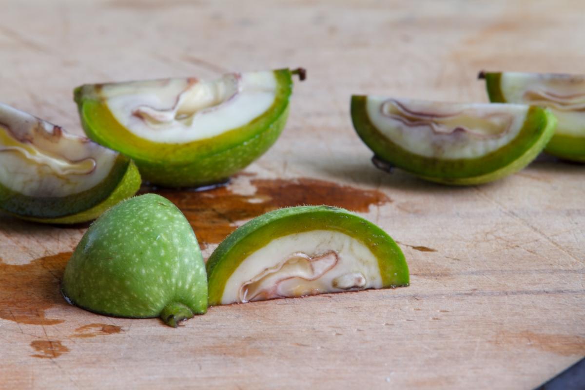sliced green walnut