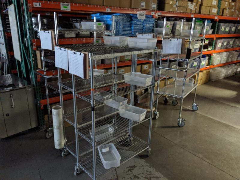 Rolling carts for picking orders.