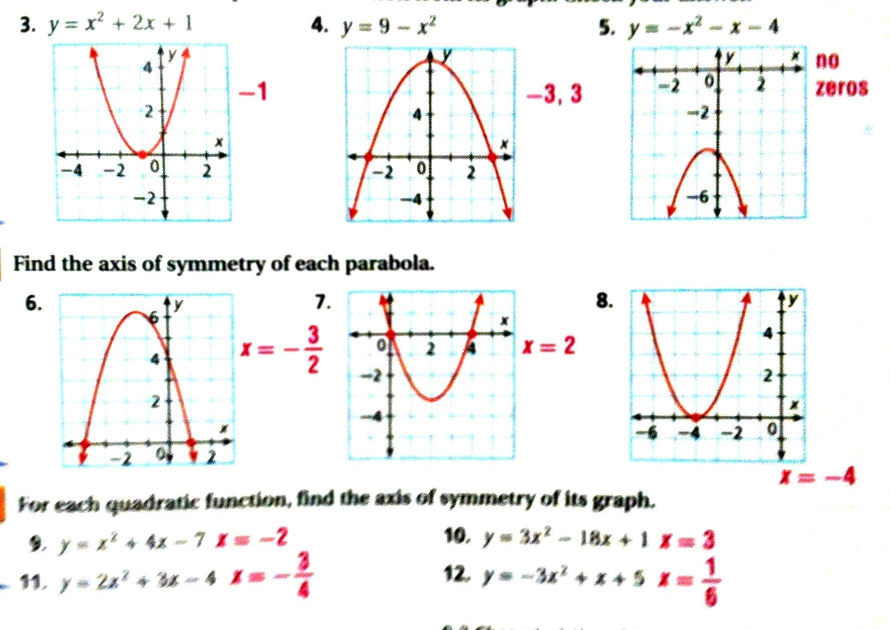 Practice Worksheet Graphing Quadratic Functions