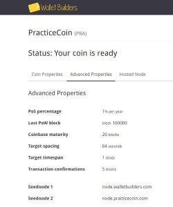 Advanced PracticeCoin Properties