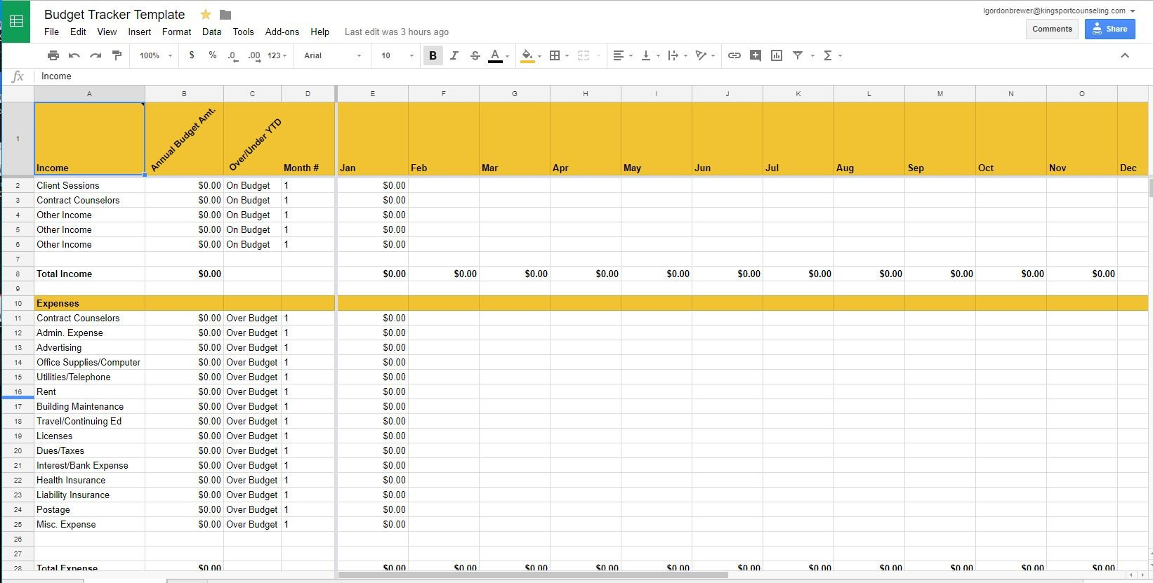 Private Practice Accounting Templates For Google Sheets