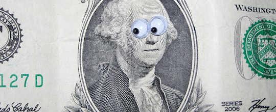dollar with googly eyes
