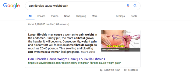 Featured snippet about fibroids