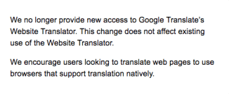 Google Translate Error