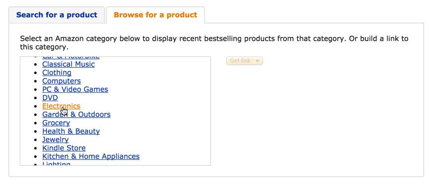 Browsing Product Categories for Amazon Affiliate Links