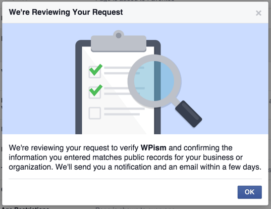 Facebook Business Page Review Request
