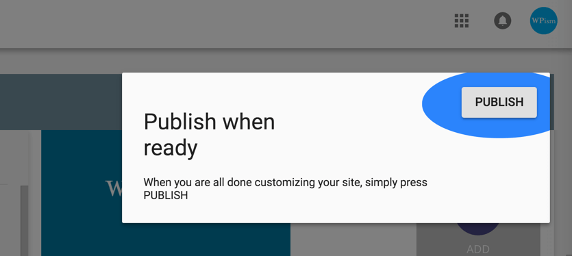 Publish Button for Google My Business Website