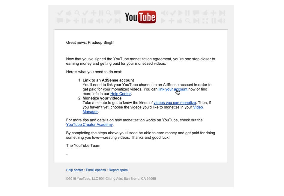 YouTube Email to Link Google Adsense Account