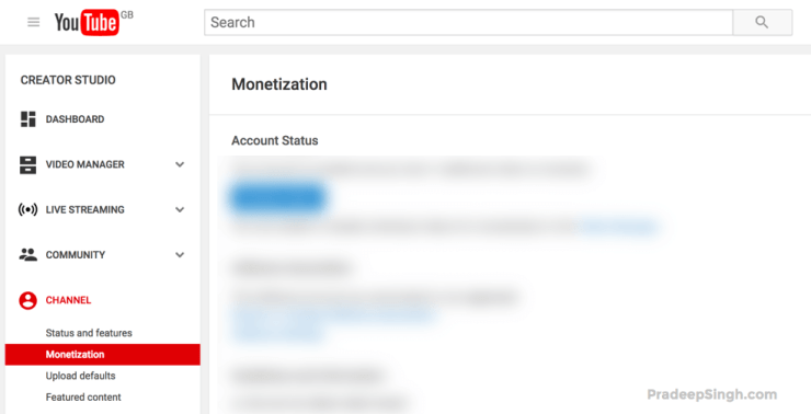 YouTube Monetization Application Status