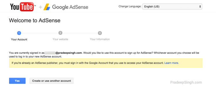 YouTube Signed in Already AdSense