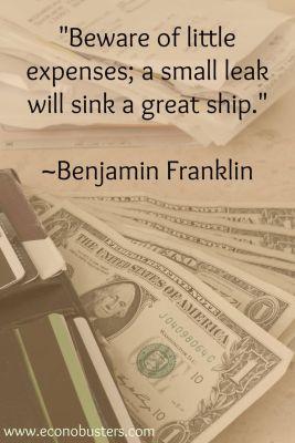 debt free Ben Franklin expenses quote