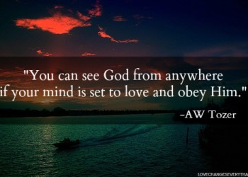 Tozer quote you can see God from anywhere