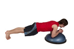 Forearm plank on Bosu round up
