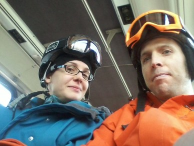 On our way to Snowmass on the super convenient and free bus.