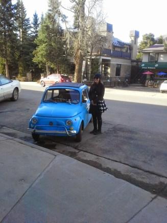 Cute little blue Fiat.