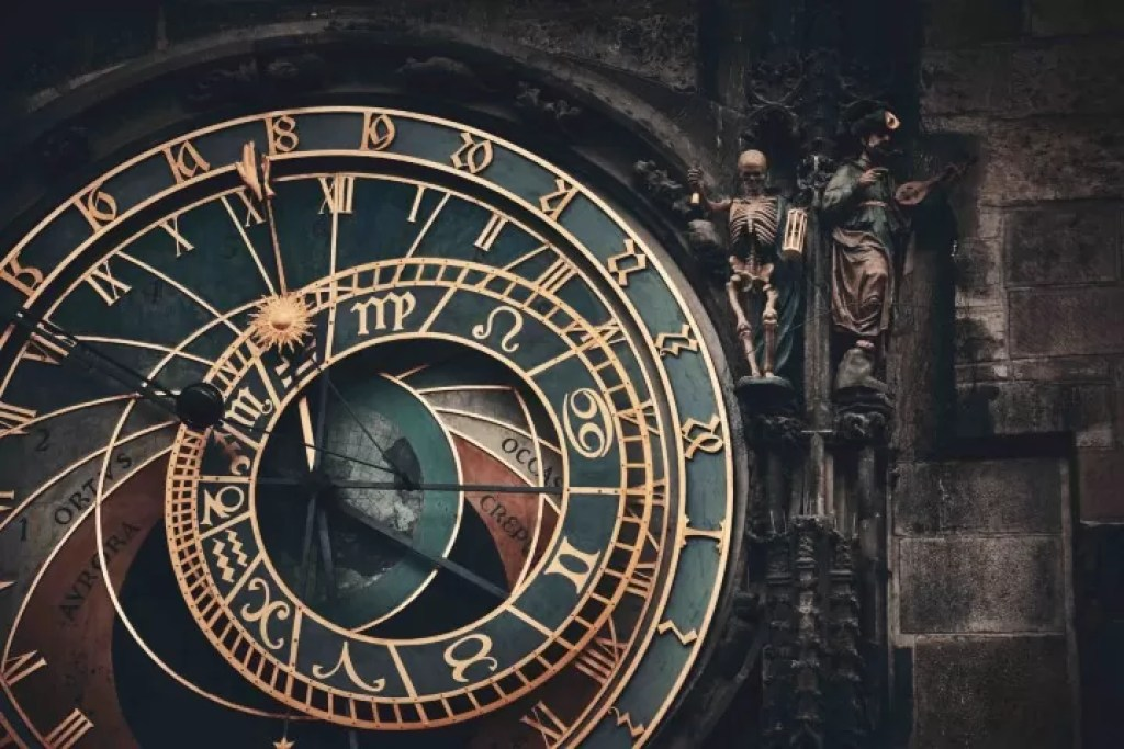 The astronomical dial of the Prague Astronomical Clock is driven by the clock machine