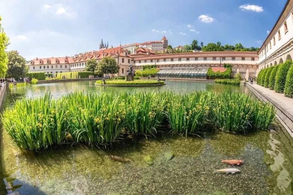 A pond with The Hercules' Fountain at Wallenstein Garden. Prague, Czech Republic