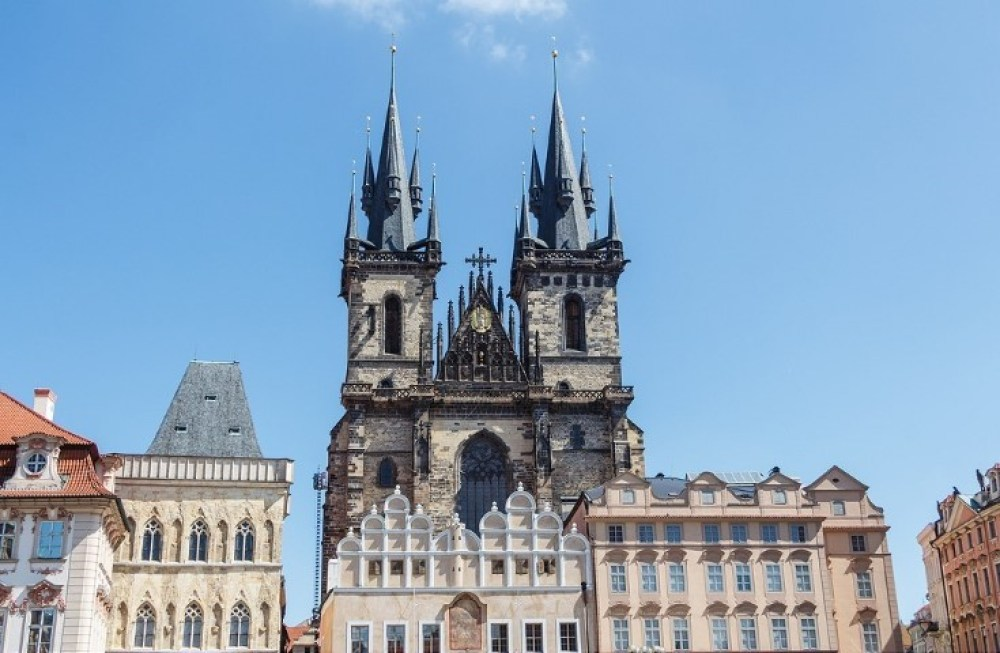 Outdoors of Our Lady of Tyn church in the center of Prague