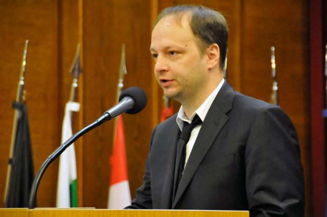 Czech Senator Vaclav Laska standing at podium