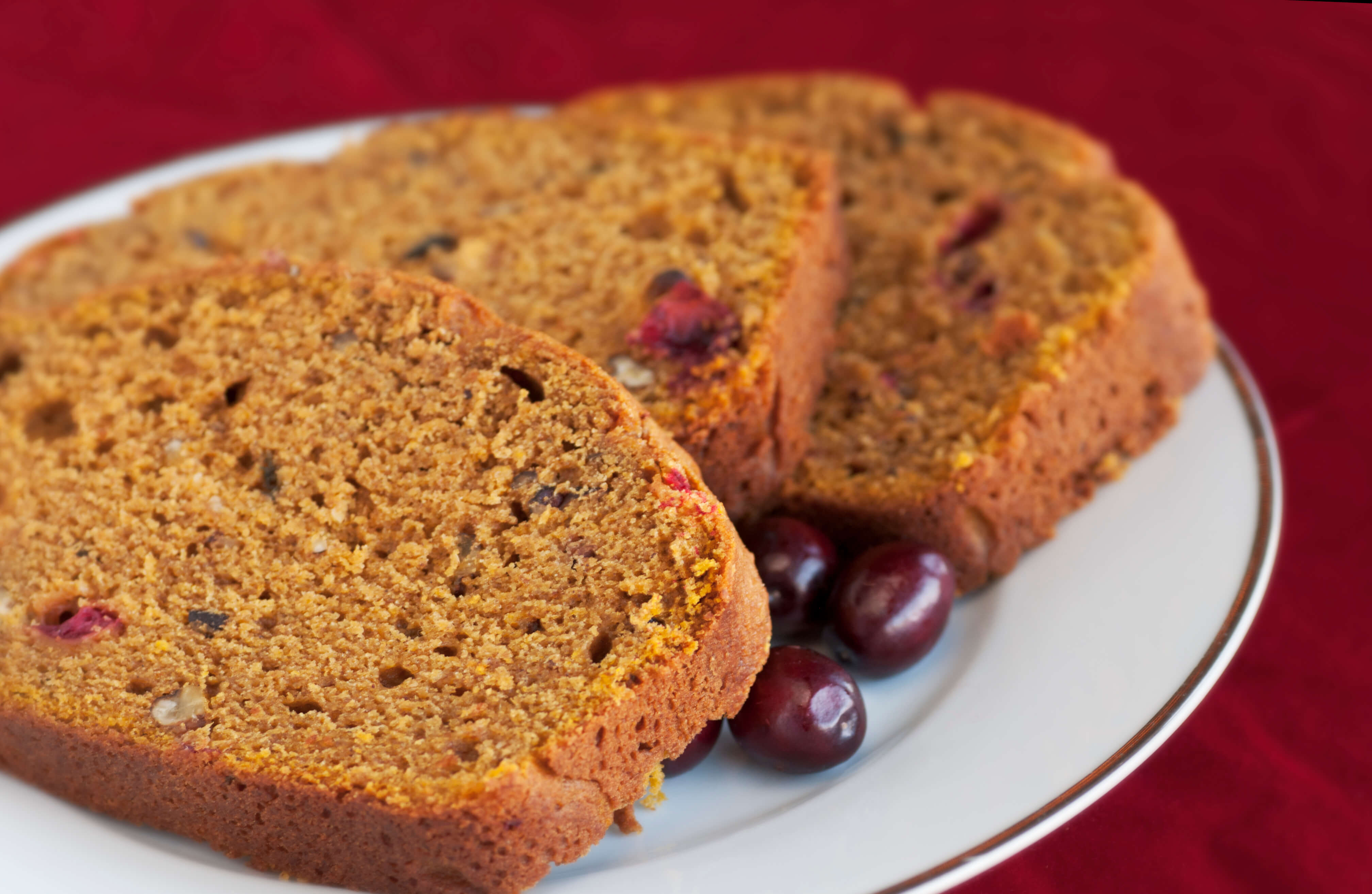 Slices of Pumpkin Bread on a plate.