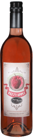 A bottle of Razzy Apple wine.