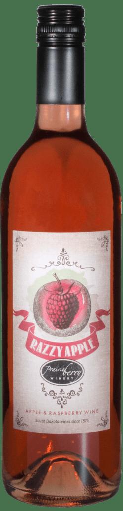 A bottle of Razzy Apple wine.