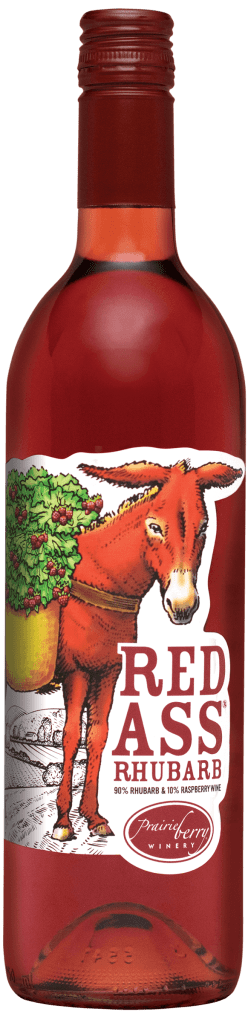 Red Ass Rhubarb, a blend of rhubarb and raspberry, is Prairie Berry Winery's most award-winning wine