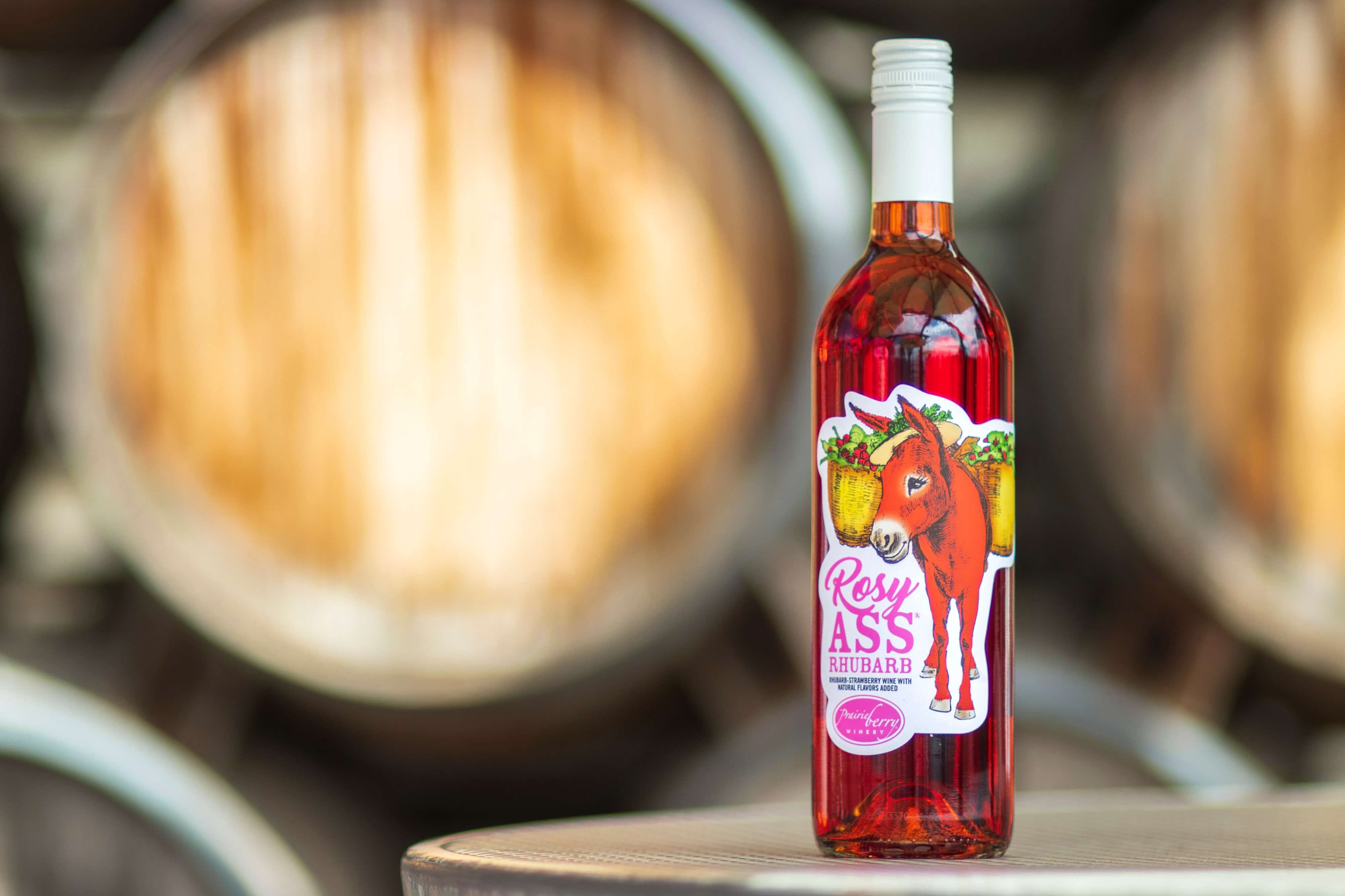 A blend of strawberry and rhubarb, Rosy Ass Rhubarb is a perfect companion to Prairie Berry Winery's popular and award-winning Red Ass Rhubarb.