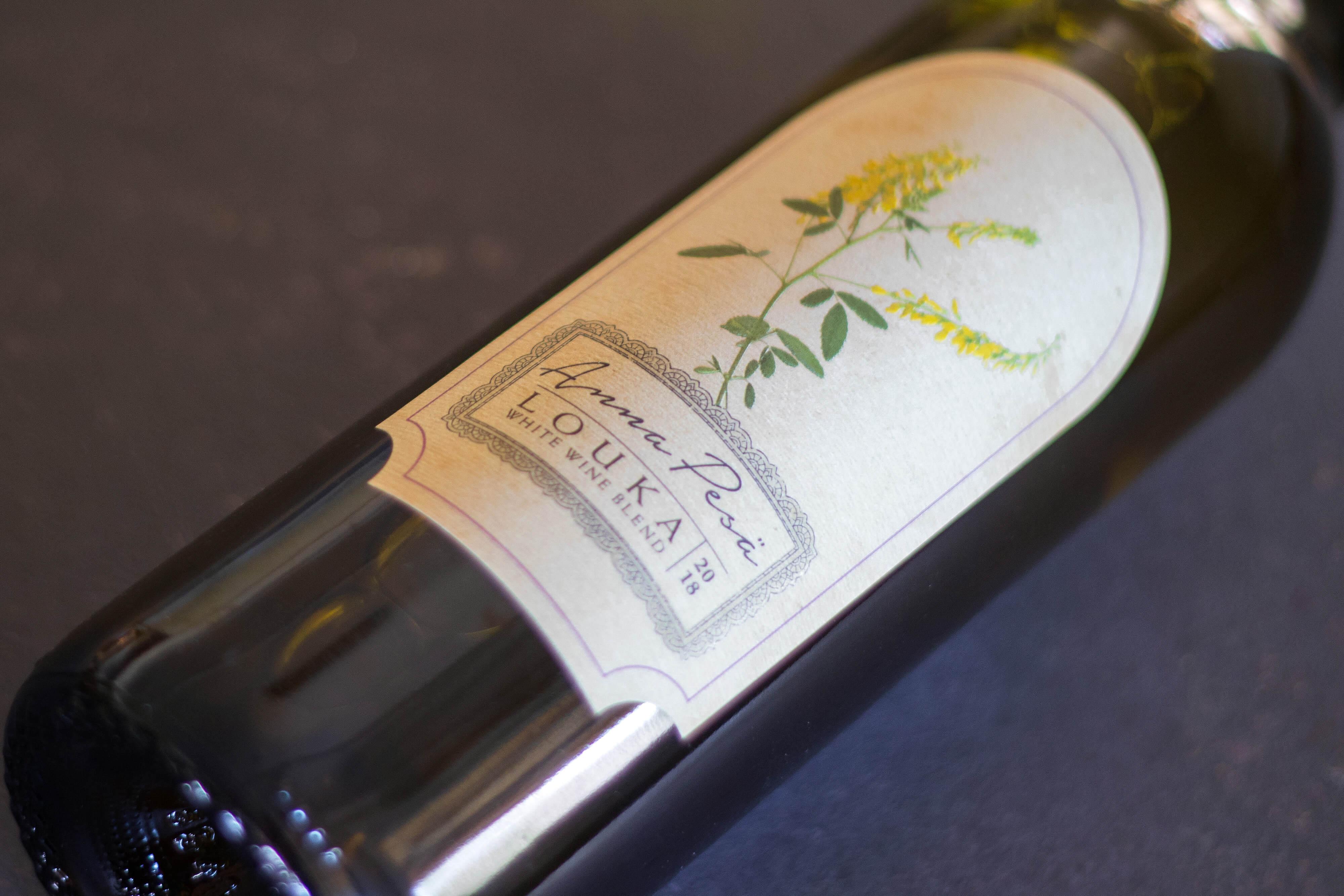 A bottle of Anna Pesä Louka 2018, a blended dry white wine