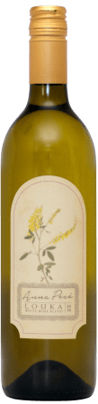 Anna Pesä Louka 2018 is a dry white blend of Chardonnay, Sauvignon Blanc, and Symphony grapes.