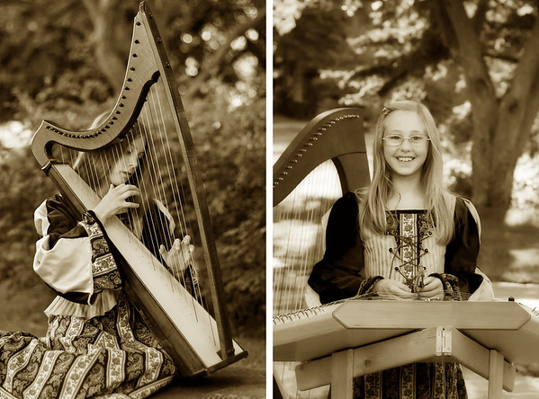 Kaira and Kendra with Harp and Dulcimer
