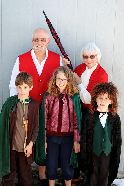 Hobbits:  Back row, left to right: Bilbo Baggins, Lobelia Sackville-Baggins Front Row, left to right Frodo (Keegan), Merri (my niece, KT), Pippin (my nephew, CJ.)