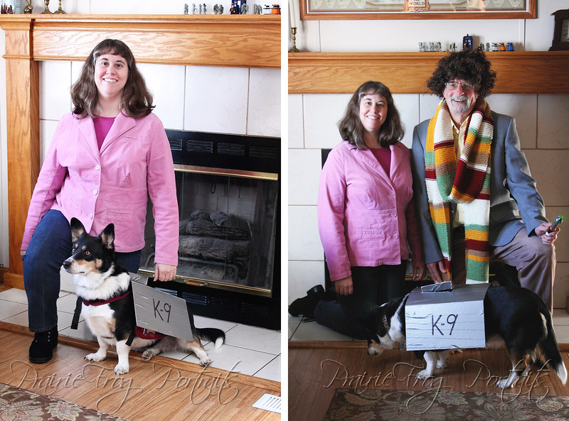 Left Photo: Sarah Jane (my sister, Lorelle), and K-9 (Our dog Toffee); Right Photo: Sarah Jane and K-9 again with the 4th Doctor (My Father-In-Law)