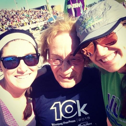 cheering on my 80 year old grams at the Manitoba Marathon 10K