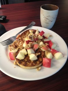 Multi-grain waffle with apple slices and walnuts