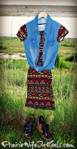 Chambray sleevless top and LuLaRoe dress