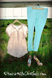 Sheer Blouse and Mint Jeans