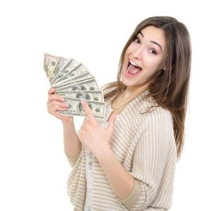 happy girl with money