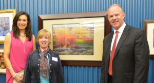 Karen with Governor Matt Mead receiving the Governor's Award and Capitol Choice Award, Wyoming Governor's Capitol Art Show