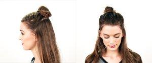 half up bun