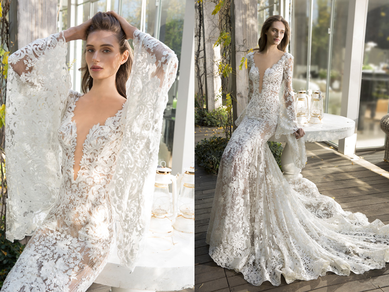 Deep V-neck! 27 Stunning Plunging Neckline Wedding Dresses