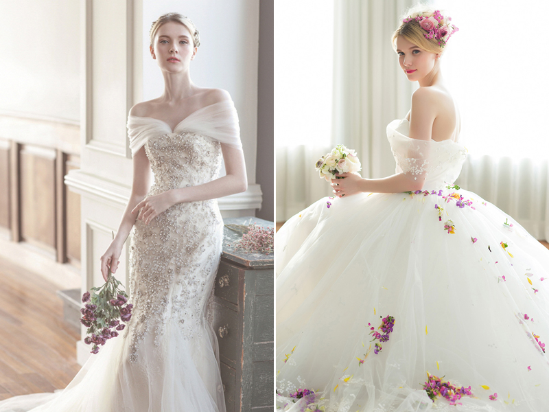 36 Utterly Romantic Off-The-Shoulder Wedding Dresses You