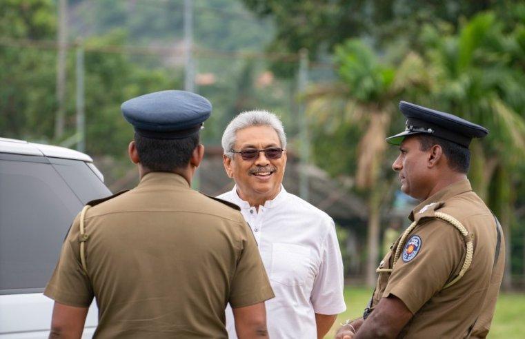 Gotabaya Rajapaksa with police